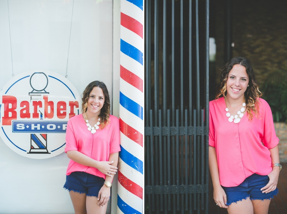 downtown tampa senior shot in front of barber shop tampa senior photographer