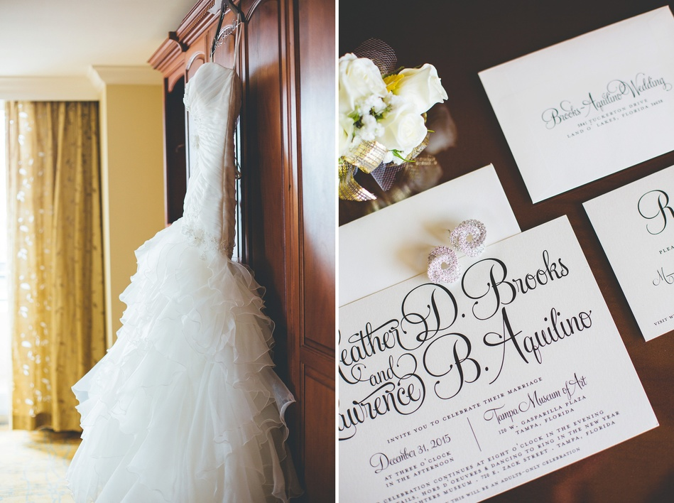 Downtown Tampa NYE Wedding - gown and invitation suite