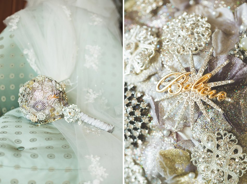 brooche bouquet made by a bride at Tampa Museum of Art Wedding by Bara Miller Photography