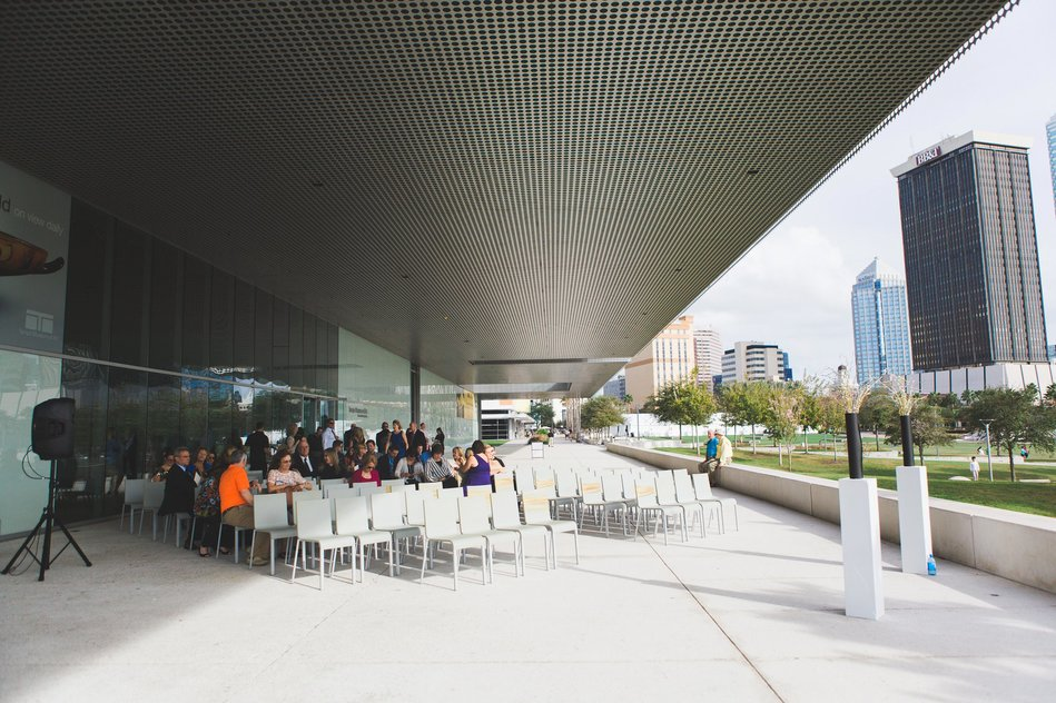 Outside Ceremony Site at Tampa Museum of Art Wedding by Bára Miller Photography