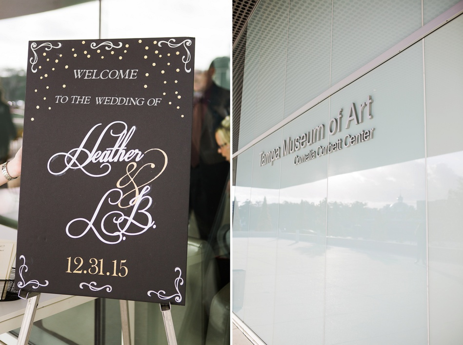 Signage at Tampa Museum of Art Wedding by Bára Miller Photography