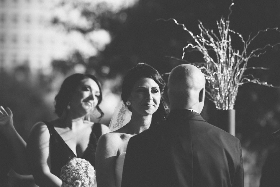 Bride looking at the groom at Tampa Museum of Art Wedding by Bara Miller Photography