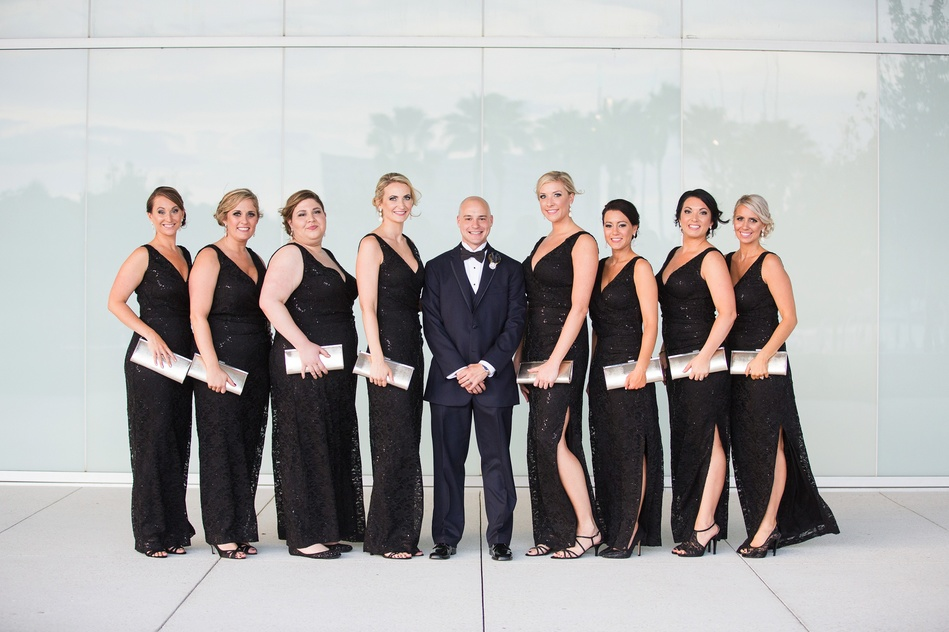 groom and the bridesmaids at Tampa Museum of Art Wedding by Bara Miller Photography