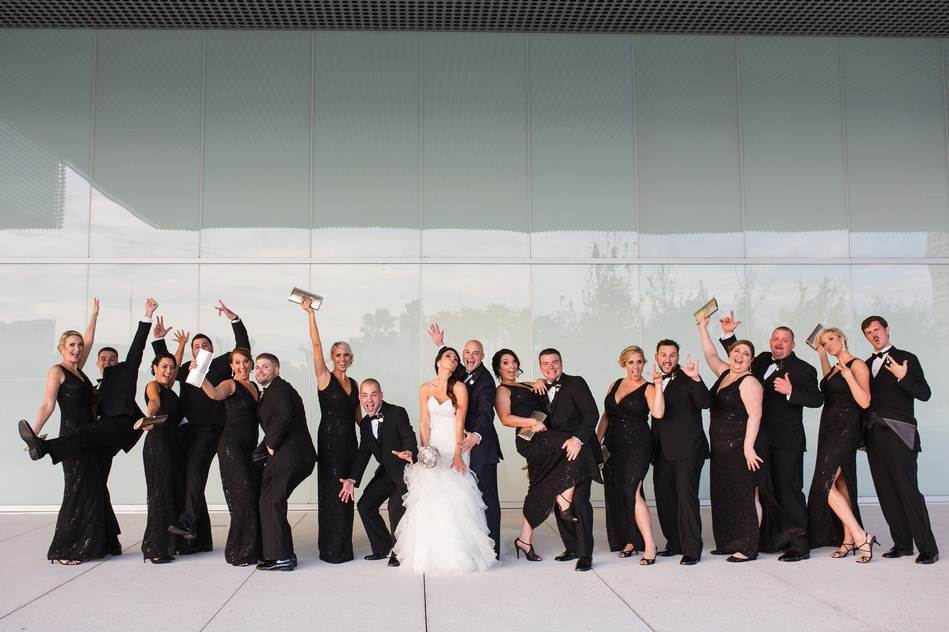 group bridal party photo at Tampa Museum of Art Wedding by Bara Miller Photography