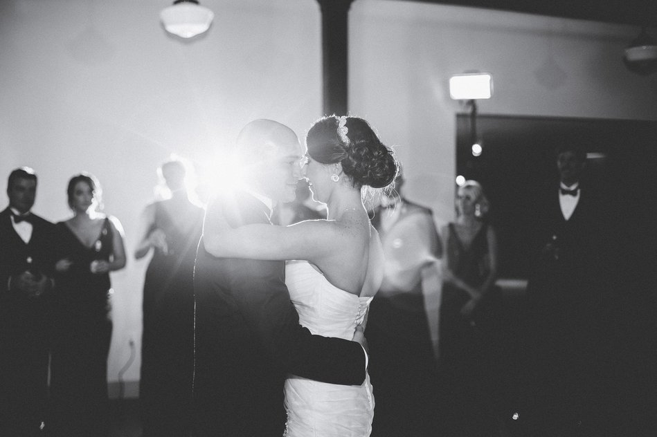 Bride and Groom having their first dance at Tampa Firefighters Museum Wedding Reception by Bara Miller Photography