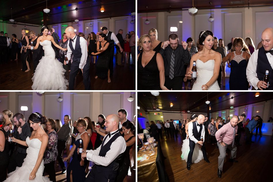 Bride groom and guest dancing at Tampa Firefighters Museum Wedding Reception by Bara Miller Photography