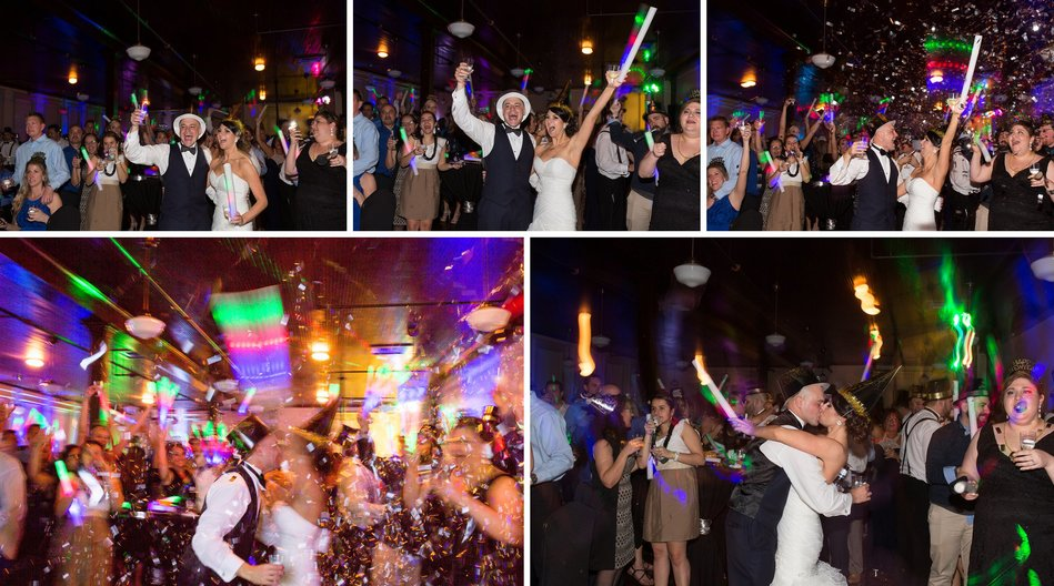 Bride groom celebrating New Year at Tampa Firefighters Museum Wedding Reception by Bara Miller Photography